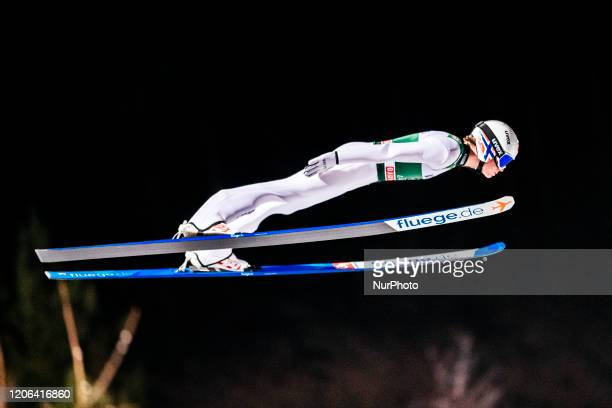 Marius Lindvik soars in the air during the first round of the Men Large Hill Individual HS130 of the FIS Ski Jumping World Cup in Lahti, Finland, on...