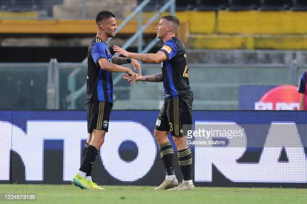 Marius Marin of SC Pisa celebrates after scoring a goal during the serie B match between SC Pisa and AS Cittadella at Arena Garibaldi on July 3, 2020...