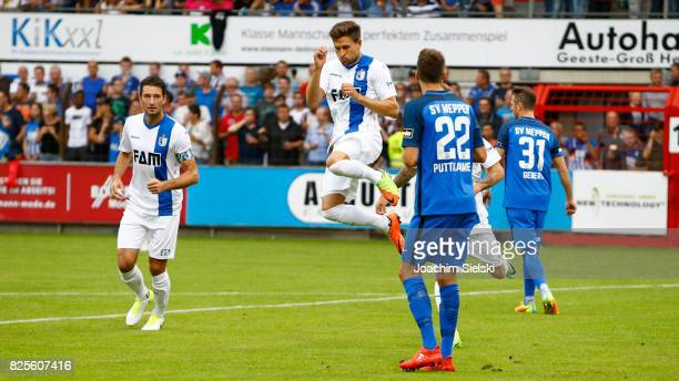 Marius Sowislo and Andreas Ludwig of Magdeburg celebration the goal 01 for Magdeburg during the 3 Liga match between SV Meppen and 1 FC Magdeburg at...