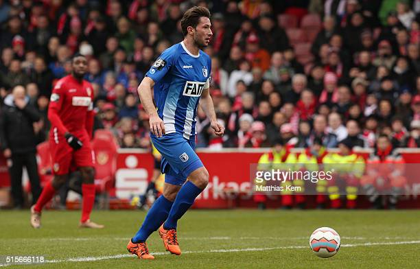 Marius Sowislo of Magdeburg runs with the ball during the third league match between FC Energie Cottbus and 1.FC Magdeburg at Stadion der...