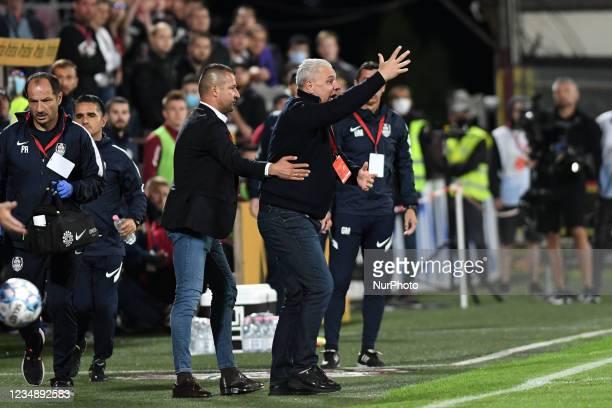 Marius Sumudica head coach of CFR Cluj protesting during the game CFR Cluj vs FK Crvena zvezda, Romanian Liga 1, Dr. Constantin Radulescu Stadium,...