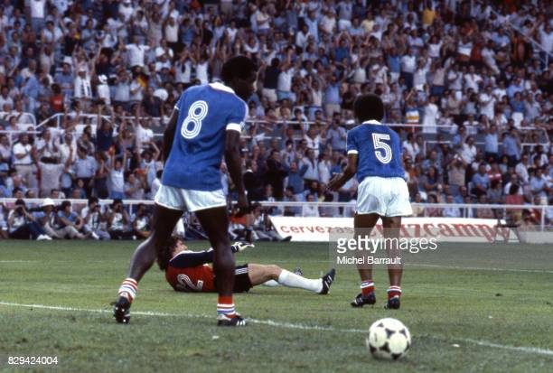 Marius Tresor and Gerard Janvion of France during Semi Final World Cup match between West Germany and France 8th July 1982 in Ramon Sanchez Pizjuan...