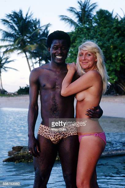 Marius Tresor football player of Bordeaux and France at his hometown Guadeloupe with his wife on December in Guadeloupe France