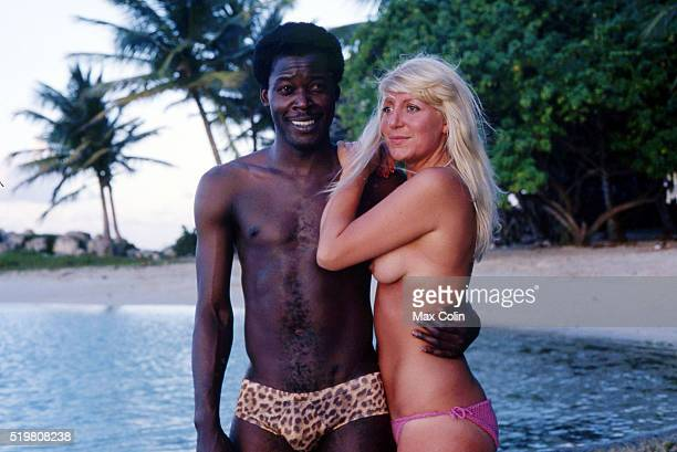 Marius Tresor player of Bordeaux at his hometown Guadeloupe with his wife on December in Guadeloupe France