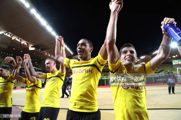 Marius Wolf Abdou Diallo and Christian Pulisic of Borussia Dortmund celebrate after the UEFA Champions League Group A match between AS Monaco and...