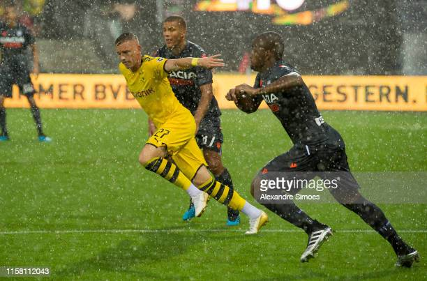 Marius Wolf of Borussia Dortmund in action during a friendly match against Udinese Calcio as part of Borussia Dortmund's Training Camp at the...