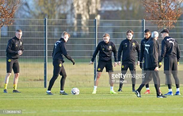 Marius Wolf of Borussia Dortmund Jacob Bruun Larsen of Borussia Dortmund Marcel Schmelzer of Borussia Dortmund assistant coach Edin Terzic of...