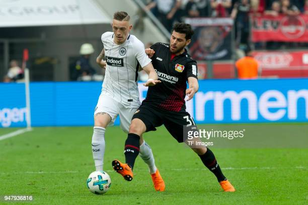 Marius Wolf of Frankfurt and Kevin Volland of Leverkusen battle for the ball during the Bundesliga match between Bayer 04 Leverkusen and Eintracht...