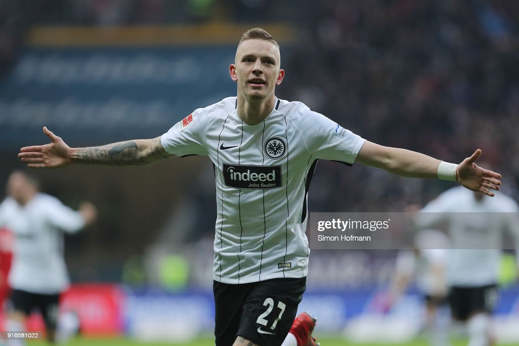 Marius Wolf of Frankfurt celebrates after he scored a goal to make it 4:1 during the Bundesliga match between Eintracht Frankfurt and 1. FC Koeln at Commerzbank-Arena on February 10, 2018 in Frankfurt am Main, Germany.