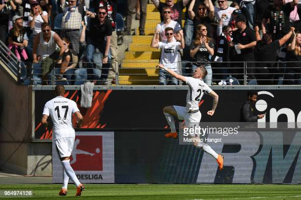 Marius Wolf of Frankfurt celebrates after he scored a goal to make it 10 during the Bundesliga match between Eintracht Frankfurt and Hamburger SV at...