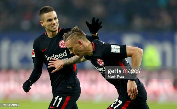 Marius Wolf of Frankfurt celebrates after he scores the opening goal during the Bundesliga match between Hamburger SV and Eintracht Frankfurt at...