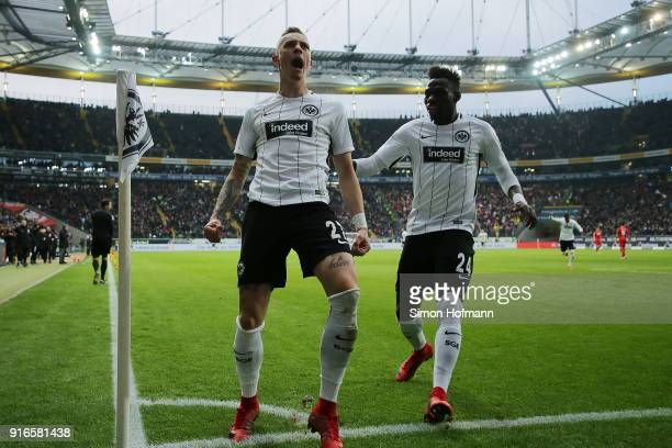 Marius Wolf of Frankfurt celebrates with Danny da Costa of Frankfurt after he scored a goal to make it 41 during the Bundesliga match between...