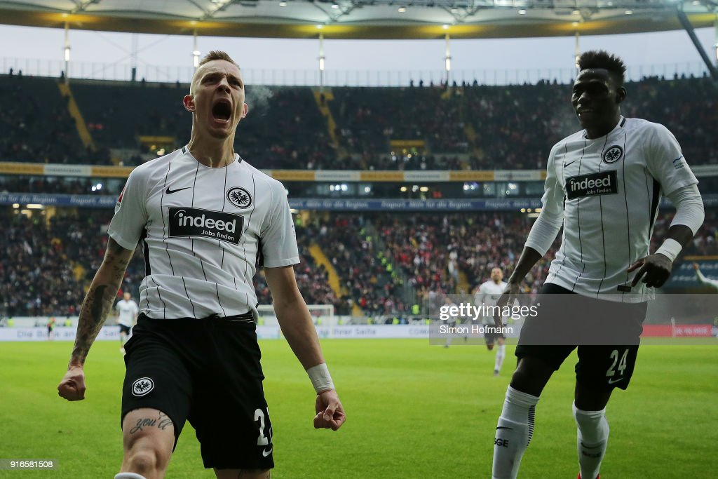 Marius Wolf of Frankfurt celebrates with Danny da Costa of Frankfurt (r) after he scored a goal to make it 4:1 during the Bundesliga match between Eintracht Frankfurt and 1. FC Koeln at Commerzbank-Arena on February 10, 2018 in Frankfurt am Main, Germany.