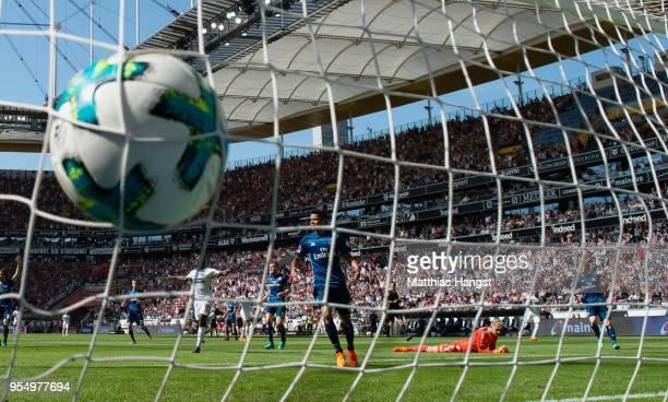 Marius Wolf of Frankfurt scores his team's first goal during the Bundesliga match between Eintracht Frankfurt and Hamburger SV at CommerzbankArena on...