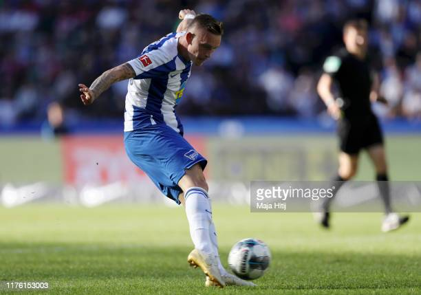Marius Wolf of Hertha BSC scores his team's second goal during the Bundesliga match between Hertha BSC and SC Paderborn 07 at Olmpiastadion on...