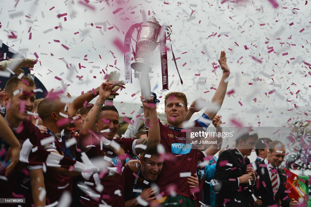 Marius Zaliuskas lifts the William Hill Scottish Cup Final after beating Hibernian in the final at Hampden Park on May 19, 2012 in Glasgow, Scotland.