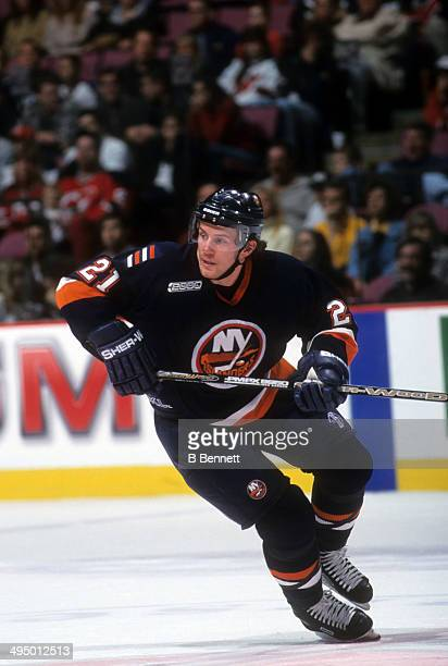 Mariusz Czerkawski of the New York Islanders skates on the ice during an NHL game against the New Jersey Devils on October 16, 1999 at the...