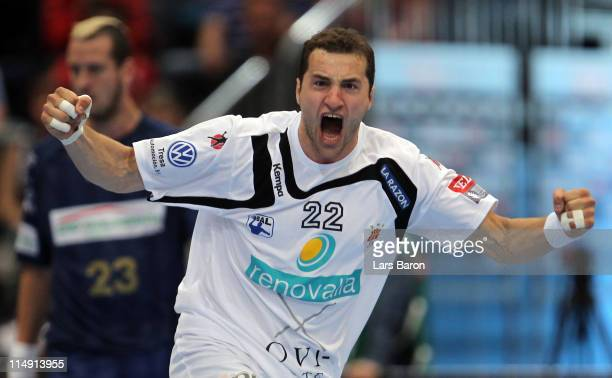 Mariusz Jurkiewicz of Ciudad celebrates next to Pascal Hens of Hamburg during the EHF Final Four semi final match between Ciudad Real and HSV Hamburg...