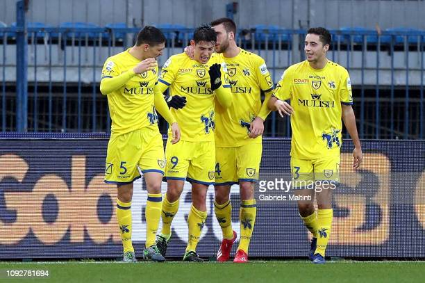 Mariusz Stepinski of AC Chievo Verona celebrates after scoring a goal during the Serie A match between Empoli and Chievo at Stadio Carlo Castellani...