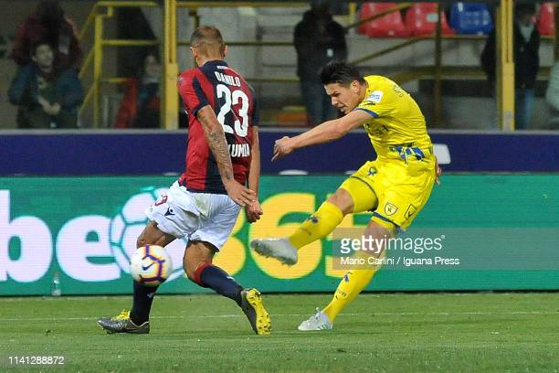 Mariusz Stepinski of Chievo kicks the ball towards the goal during the Serie A match between Bologna FC and Chievo at Stadio Renato Dall'Ara on April...