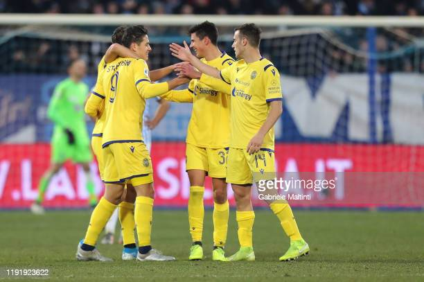 Mariusz Stepinski of Hellas Verona celebrates after scoring a goal during the Serie A match between SPAL and Hellas Verona at Stadio Paolo Mazza on...