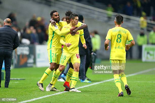 Mariusz Stepinski of Nantes celebrates with teammates as he scores a goal to make 11 during the Ligue 1 match between Fc Nantes and Toulouse Fc at...