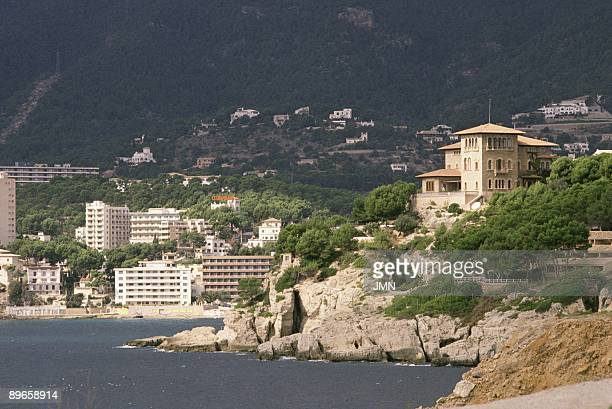Marivent Palace residence of the Royal Family in Palma de Mallorca View of the palace over the bay