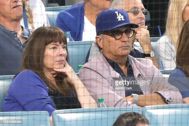 Marivi Lorido Garcia and Andy Garcia attend The Los Angeles Dodgers Game World Series Boston Red Sox v Los Angeles Dodgers Game Three at Dodger...