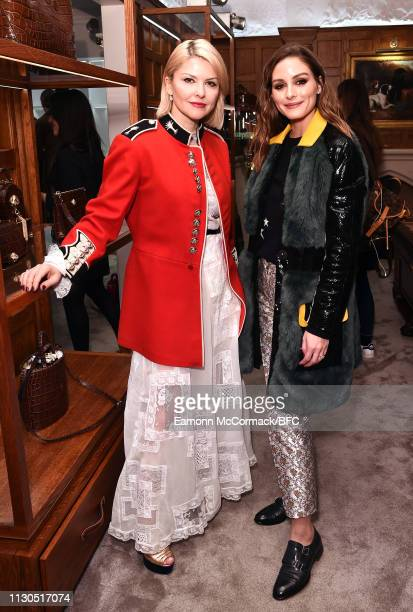 Mariya Dykalo and Olivia Palermo attend the Aspinal of London AW19 presentation during London Fashion Week February 2019 at the Aspinal Of London on...