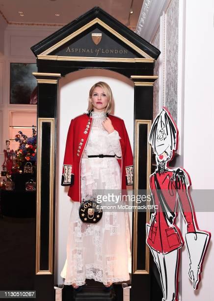 Mariya Dykalo attends the Aspinal of London AW19 presentation during London Fashion Week February 2019 at the Aspinal Of London on February 18 2019...