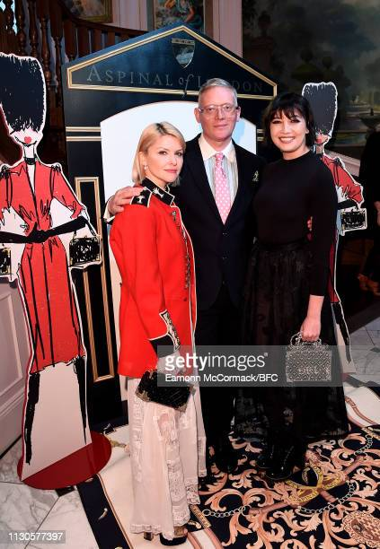 Mariya Dykalo Giles Deacon and Daisy Lowe attend the Aspinal of London AW19 presentation during London Fashion Week February 2019 at the Aspinal Of...