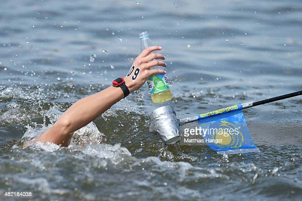 Mariya Ivanova of Kazakhstan competes in the Women's 10km Open Water Swimming Final on day four of the 16th FINA World Championships at the Kazanka...