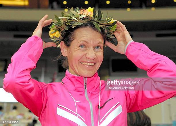 Mariya Konovalova of Russia celebrates winning the Nagoya Women's Marathon 2014 at Nagoya Dome on March 9 2014 in Nagoya Japan