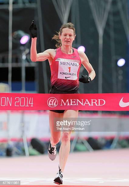 Mariya Konovalova of Russia crosses the finishing tape to win during the Nagoya Women's Marathon 2014 at Nagoya Dome on March 9, 2014 in Nagoya,...