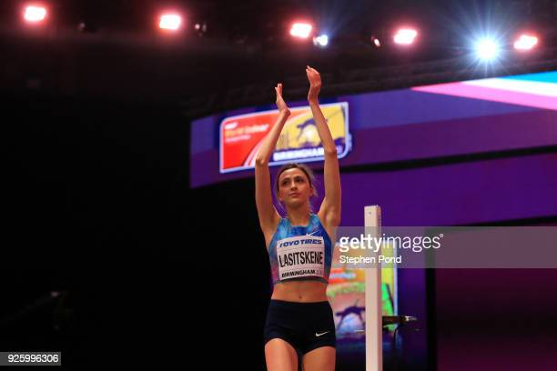 Mariya Lasitskene of Authorised Neutral Athlete celebrates after winning the Womens High Jump Final on Day One of the IAAF World Indoor Championships...