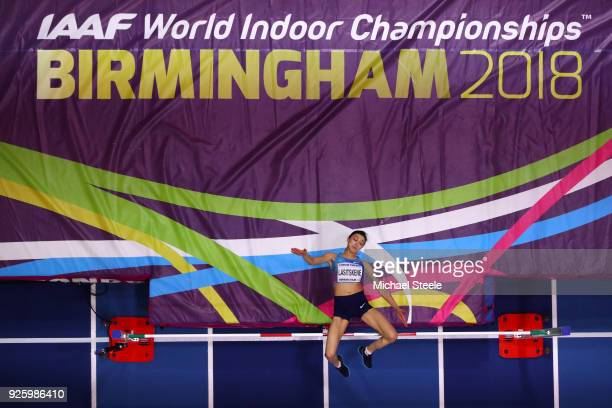 Mariya Lasitskene of Authorised Neutral Athlete competes in the Womens High Jump Final on Day One of the IAAF World Indoor Championships at Arena...