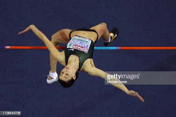 Mariya Lasitskene of Russia in action during the final of the women's high jump on day three of the 2019 European Athletics Indoor Championships at...