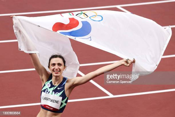 Mariya Lasitskene of Team ROC reacts after winning the gold medal in the Women's High Jump final on day fifteen of the Tokyo 2020 Olympic Games at...