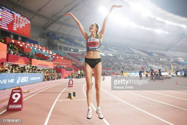Mariya Lasitskene of the Authorised Neutral Athletes celebrates winning gold in the Women's High Jump final during day four of 17th IAAF World...
