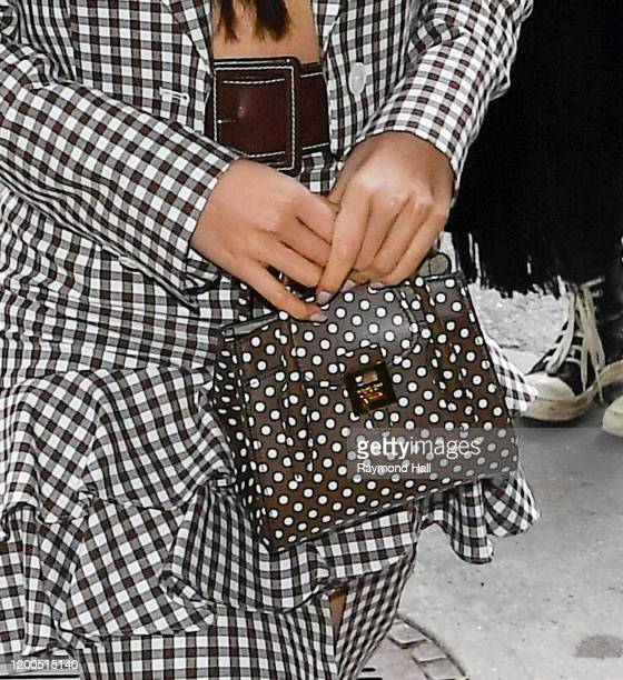 Mariya Nishiuchi, bag detail, seen at a Michael Kors Collection show on February 12, 2020 in New York City.