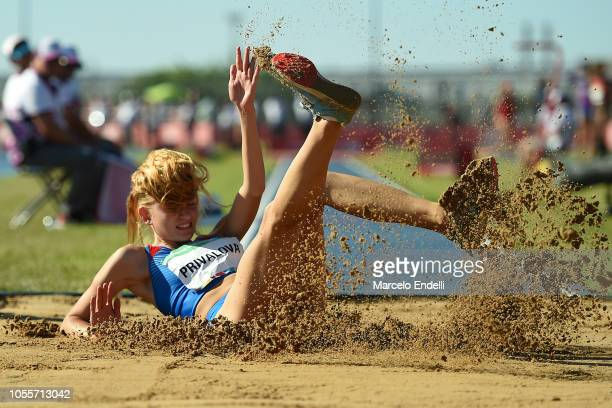Mariya Privalova of Russia competes in Women's Triple Jump Stage 2 during day 10 of Buenos Aires 2018 Youth Olympic Games at Youth Olympic Park Villa...