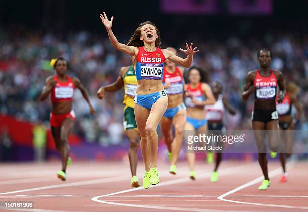Mariya Savinova of Russia celebrates as she crosses the finish line to win gold in the Women's 800m Final on Day 15 of the London 2012 Olympic Games...