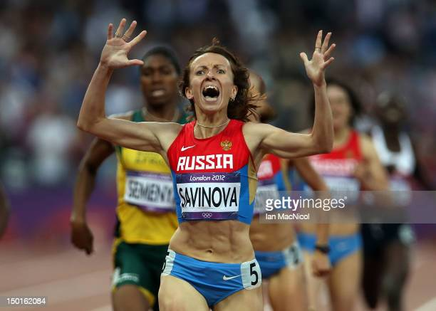Mariya Savinova of Russia on her way to victory in the Women's 800m Final during the 2012 London Olympics at The Olympic Stadium on August 11 2012 in...