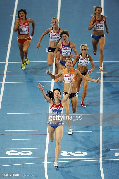 Mariya Savinova of Russia wins gold in the Womens 800m Final during day four of the 20th European Athletics Championships at the Olympic Stadium on...