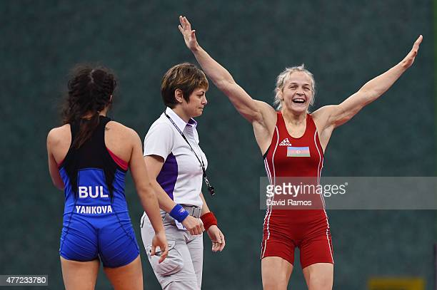 Mariya Stadnyk of Azerbaijan celebrates victory over Elitsa Yankova of Bulgaria in the Women's Freestyle 48kg Wrestling Final during day three of the...
