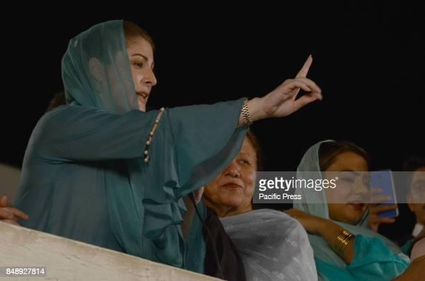 Mariyam Nawaz daughter of Former Prime Minister Pakistan Nawaz Sharif address to the party supporters at 180/H Model Town her mother Kalsoom Nawaz...