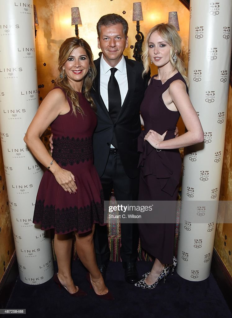 Mariza Koutsolioutsos, George Koutsolioutsos and Diana Vickers attend the Links Of London 25th Anniversary Event at Loulou's on September 7, 2015 in London, England.