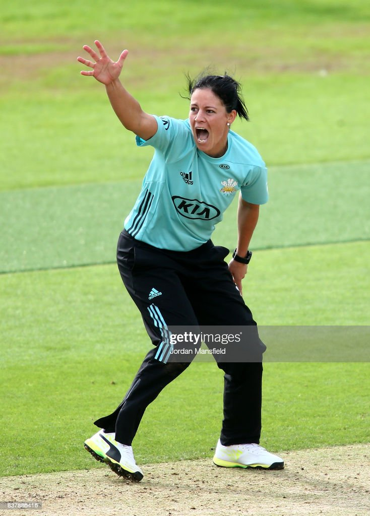 Marizanne Kapp of Surrey appeals unsuccessfully during the Kia Super League match between Surrey Stars and Western Storm at The Kia Oval on August 23, 2017 in London, England.