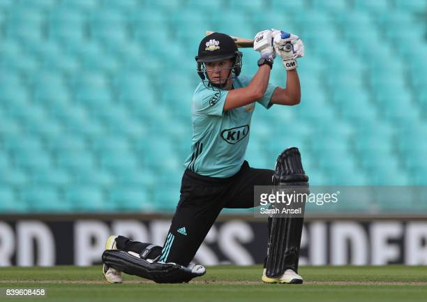 Marizanne Kapp of Surrey Stars hits out during the Kia Super League 2017 match between Surrey Stars and Loughborough Lightning at The Kia Oval on...