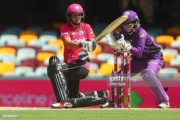 Marizanne Kapp of the Sixers bats during the Women's Big Bash League semi final match between the Sydney Sixers and the Hobart Hurricanes at The...